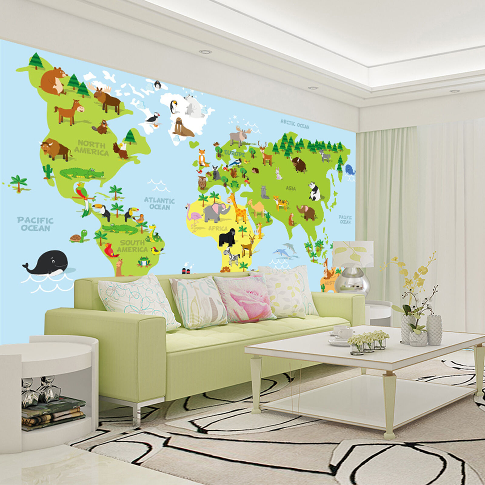 3D World Cartoon Animals Wall Paper Print Decal Wall Deco Indoor wall Mural