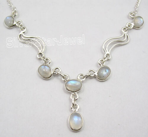 """925 Sterling Silver Natural RAINBOW MOONSTONE GORGEOUS Necklace 17.25/"""" NEW"""