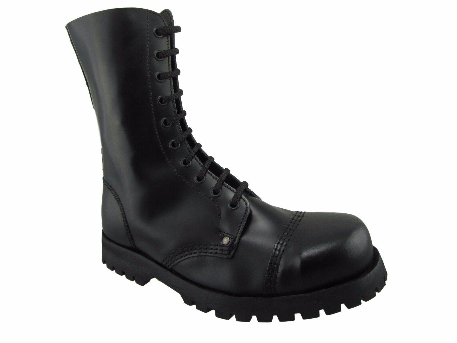 Steel Ground Combat Stiefel schwarz Leder 10 Eyelet Box Safety Under Cap Punk