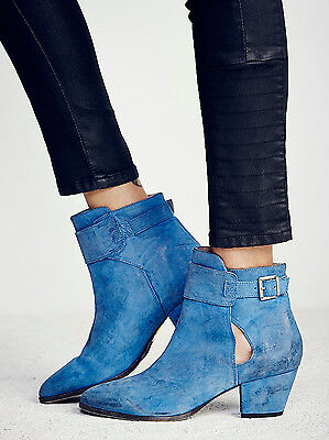 Womens Free People Belleville Leather Ankle Booties – Cobalt – Size 40 – NIB