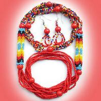 Red Beaded Native Jewelry Layered Necklace Set 39/13