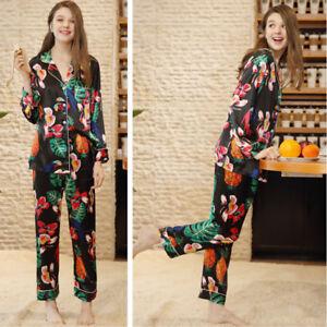 f27280e469 Women Floral Pajamas Silk Robe Sleepwear Set Long Sleeve Nightgown ...