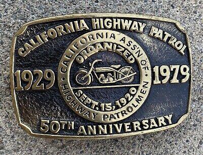 Vintage CALIFORNIA HIGHWAY PATROL Belt Buckle Solid Brass NEW IN PACKAGE