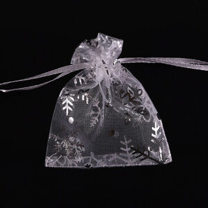 100x-Snowflake-White-Jewelry-Candy-Organza-Pouch-Wedding-Favor-Bag-7x9cm-Pip-ND