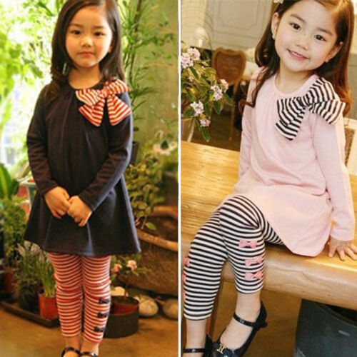 2pcs Girls Kids Striped Long Sleeve Mini Dress Pants Leggings Set Outfit Clothes