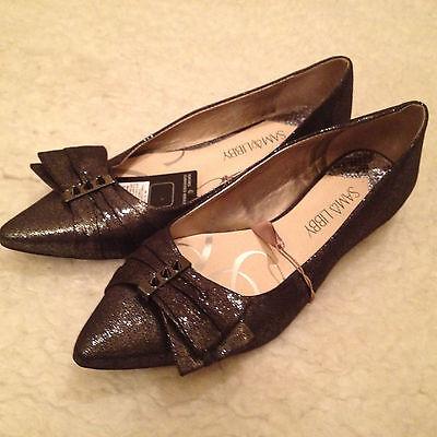 NWT Sam & Libby GUNMETAL Gray Silver Metallic BOW Flats Shoes Womens 6.5 M
