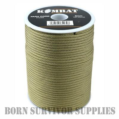 Coyote Paracord 100 m Roll Nylon 3 mm Para Cordon Bobine Brown Tan Tente Bâche Guy Corde