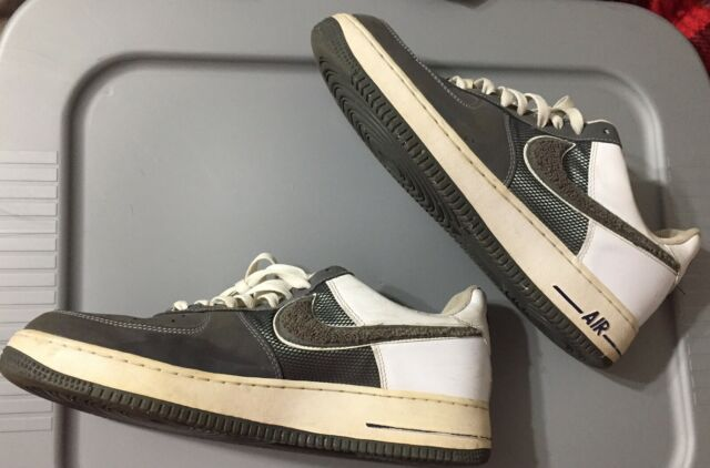 Nike Air Force 1 Men's Shoes Sneakers Stealth Dark Grey Fuzzy Swoosh Rare Sz 11
