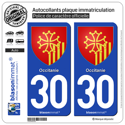 Useful 2 Stickers Autocollant Plaque Immatriculation Auto 30 Occitanie - Armoiries Vivid And Great In Style
