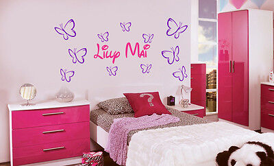 Personalised Butterfly Wall Art Stickers Girls Name, (11 Butterfly)