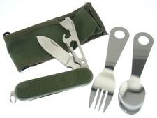 Hobo Eating Camping Tool Set - Fork, Spoon & Pocket Knife w/ Case FAST SHIPPING!