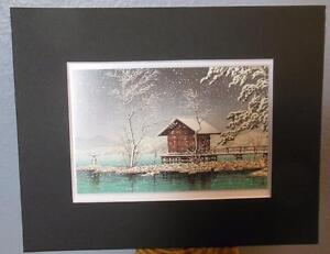 Matted-Print-Kawase-Hasui-Japan-Kansa-no-Miya-Shrine-8-x-10-034-Sealed-Black-Mat