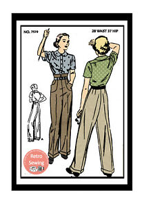 1940s-Hepburn-Trousers-Slacks-Reproduction-Sewing-Pattern