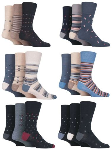 Mens 3 Pairs Gentle Grip Non Elastic Better Circulation Diabetic Fashion Socks
