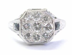 18Kt-Vintage-Joyau-Naturel-Saphir-et-Diamant-or-Blanc-Bague-Grappe-70CT