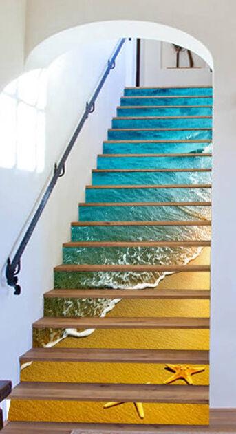 3D Beach water Stair Risers Decoration Photo Mural Vinyl Decal Wallpaper AU