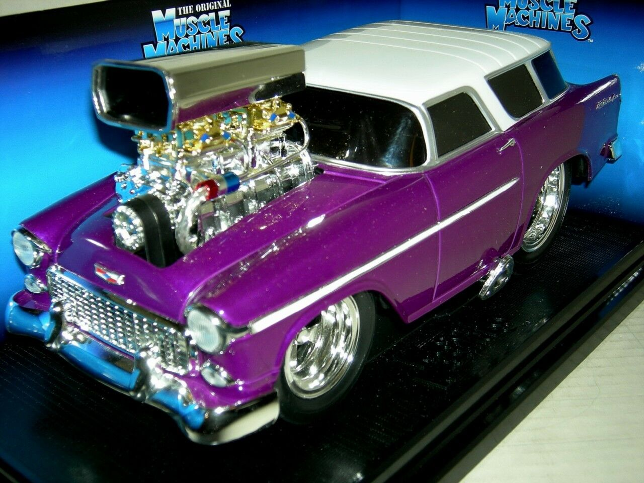 55 CHEVY NOMAD PLUMB  W  WHITE TOP  MUSC.MACH.MIB1 18