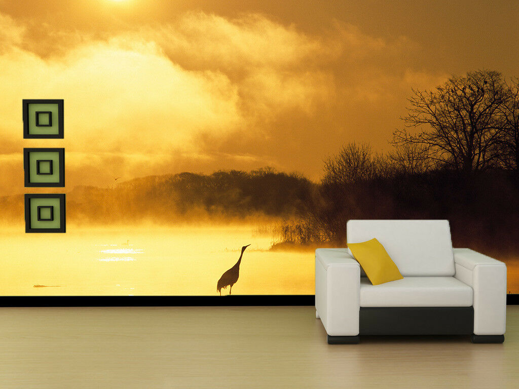3D Dusk Egret Forest 5 Wall Paper Wall Print Decal Wall Deco Indoor Mural Summer