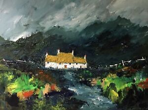 ORIGINAL-PAINTING-Acrylic-On-Canvas-Cottage-On-The-Black-Mountains-40x30cm