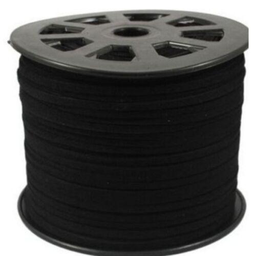 Black 100M 3mm Flat Faux Suede Korean Velvet Leather Cord string Rope Thread
