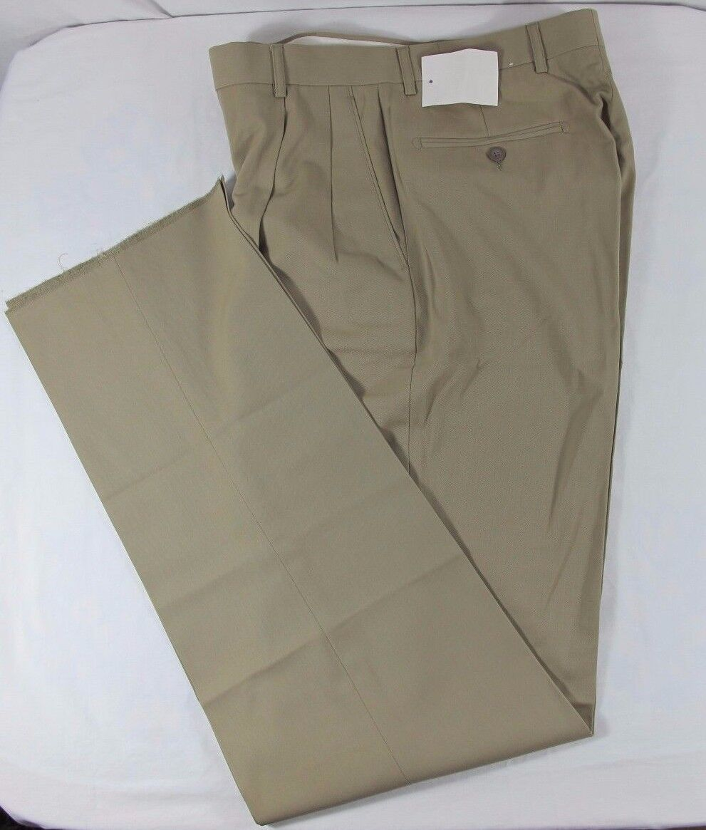 Millinea Khaki Tan Light Weight Wool Pants Pleated Front Size 30 UNHEMMED  NWT