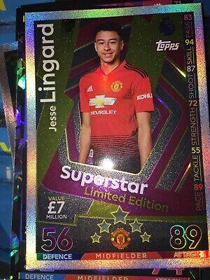 Match Attax 2018//19 Jesse Lingard Superstar tarjeta de edición limitada-Man Utd