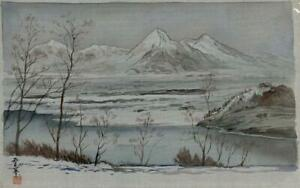 JAPANESE-CHINESE-Painting-On-Silk-SNOWY-MOUNTAIN-LANDSCAPE-Signed-20TH-CENTURY