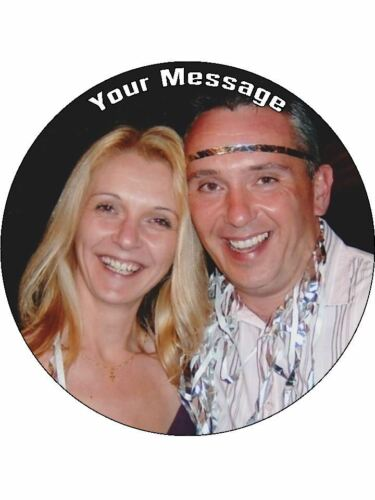 """YOUR OWN PERSONALISED PHOTO MESSAGE 7.5/"""" Round  Wafer Paper Cake Topper"""