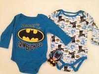 Baby Boy Batman Superhero 2 Long Sleeve Bodysuits Size 3 6 9 Months Layette Blue