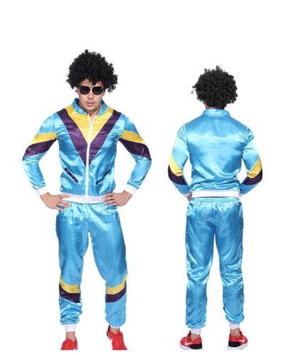 Mens Retro Neon 80s Height Fashion Scouser Tracksuit Blue Shell Suit Costume
