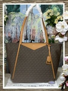 Details about NWT MICHAEL KORS WHITNEY LARGE Top Zip TOTE Bag In BROWN MK Logo PVC Leather