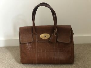 4b7316d560 Image is loading Mulberry-Bayswater-handbag-Oak-Croc-leather