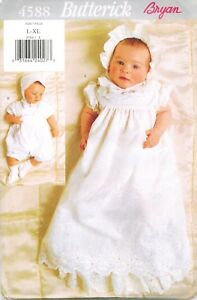 Butterick 4588 Infant Baby Christening Gown Hat Romper