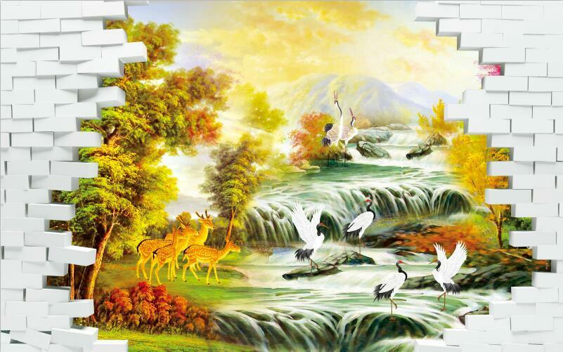 3D Scenery tree yellow Animal Wall Paper Print Decal Wall Deco Indoor wall Mural