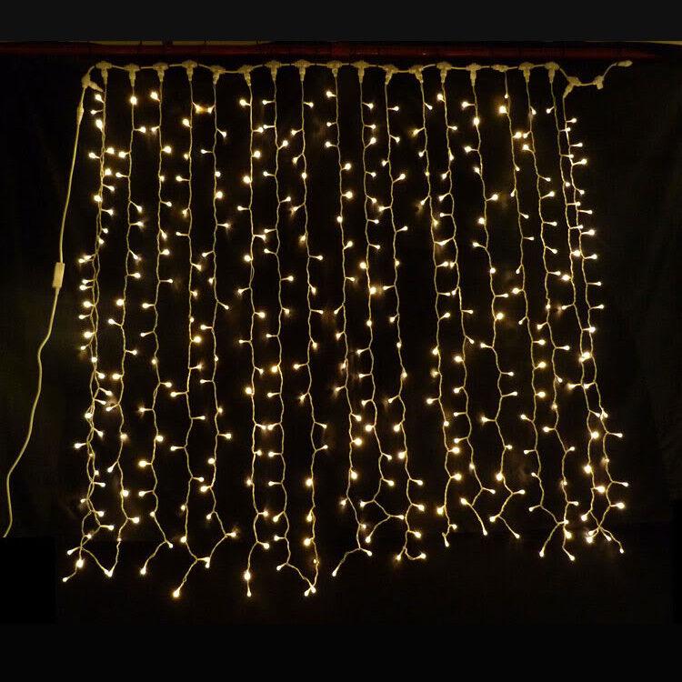 Cortina Navidad de LED luces Navidad Cortina luces de Navidad Boda Jardín de telón de fondo Blanco Azul Rosa 58a614