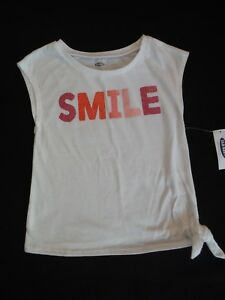 Old-Navy-white-Smile-tee-shirt-top-3T-Girls-Side-Tie-Sleeveless-Cotton-NEW