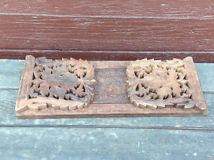 Beautiful Intricately Carved Tramp Art Sliding Bookend