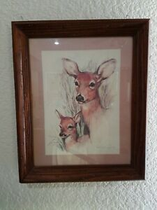 Paul-Whitney-Hunter-034-Deer-amp-Fawn-034-Vintage-Framed-Print-16-1-4-X-13-1-2