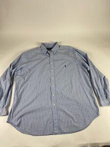 Polo-Ralph-Lauren-Sz-3XLT-Blue-White-L-S-100-Cotton-Button-Shirt