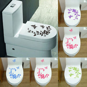 Image Is Loading Diy Flower Erfly Bathroom Toilet Seat Wall Decal