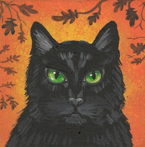 2x2 DOLLHOUSE MINIATURE PRINT OF PAINTING RYTA 1:12 SCALE HALLOWEEN BLACK CAT