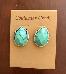 Details About Coldwater Creek Santorini On Earrings Faux Turquoise New
