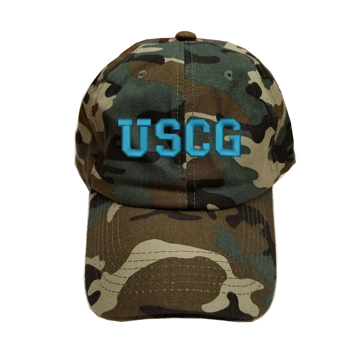 COTTON GREEN CAMO CAMOUFLAGE USAF USCG U.S. CAP COAST GUARD BLUE TEXT CAP U.S. HAT adc185