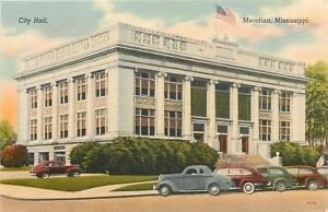 Meridian-Mississippi-City-Hall-1930-1940s-Cars-Postcard