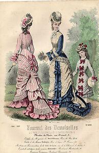 """2019 DernièRe Conception 46/ Gravure De Mode """" Journal Des Demoiselles """" 1876 Superbes Couleurs ! Soyez Amical Lors De L'Utilisation"""