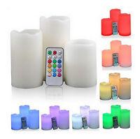 LED Kerzen Set 3-teilig mit Fernbedienung Farbwechsel Echtwachskerzen