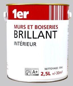 Détails Sur Peinture Acrylique Blanc Brillant Decoration Murs Et Boiseries 2 5l Sans Odeurs