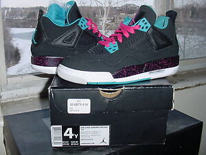 Girls Nike Air Jordan IV 4 Retro GS Black Vivid Pink Dynamic Blue ... 237d9b0ec