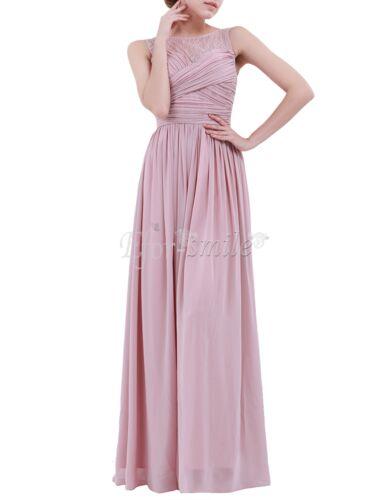 US /_ Womens Chiffon Lace Wedding Bridesmaid Evening Gown Empire Maxi Long Dress
