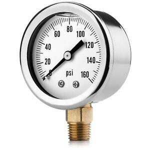"""Oil-Filled Water Pressure Gauge. 0-160 PSI. 1/4"""" NPT."""